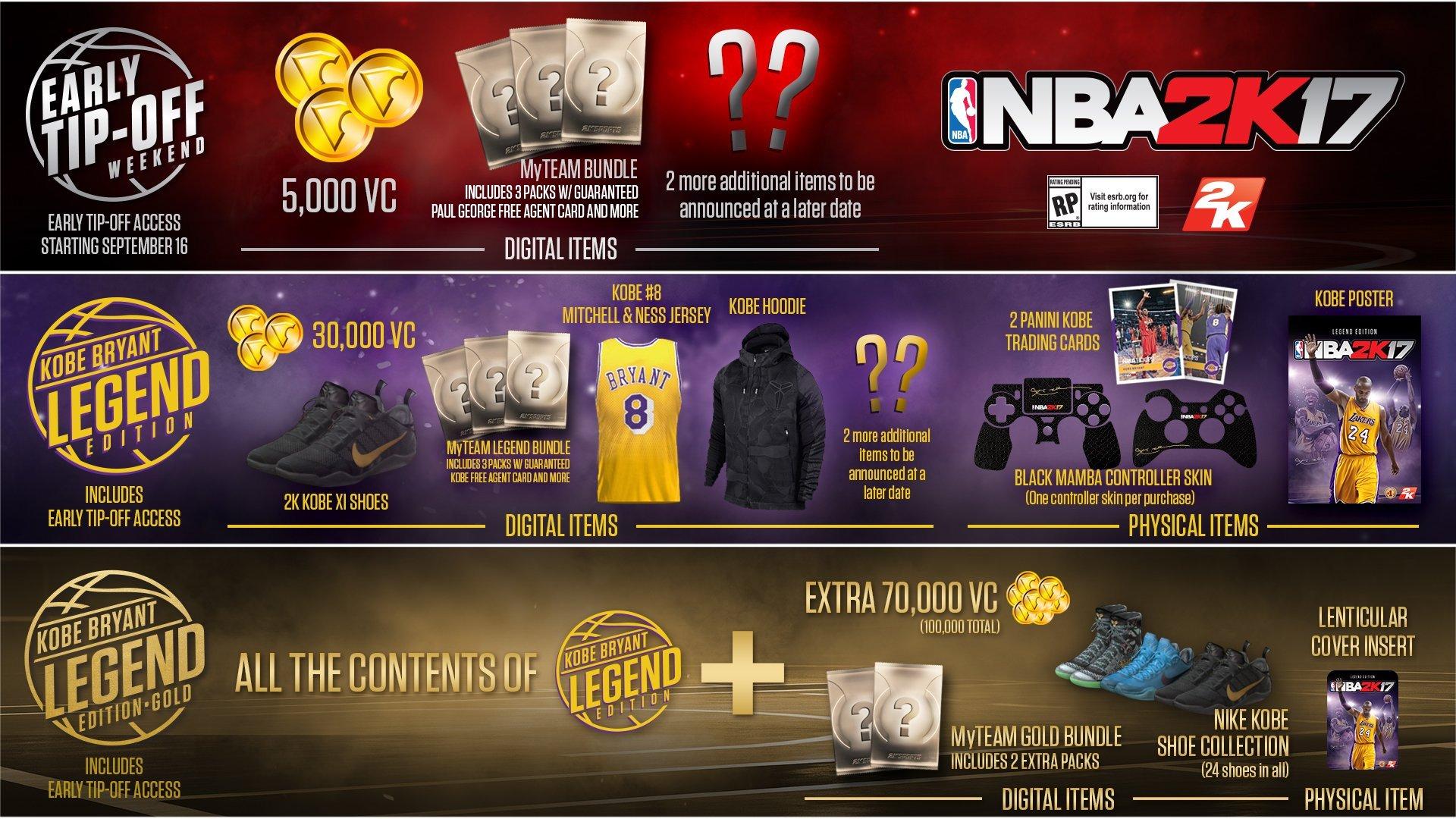 《NBA 2K17》预订奖励