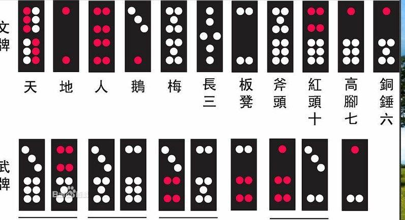 名称 点数 介绍 天牌 12 红6点,白6点 象征天候的二十四节气,文牌中