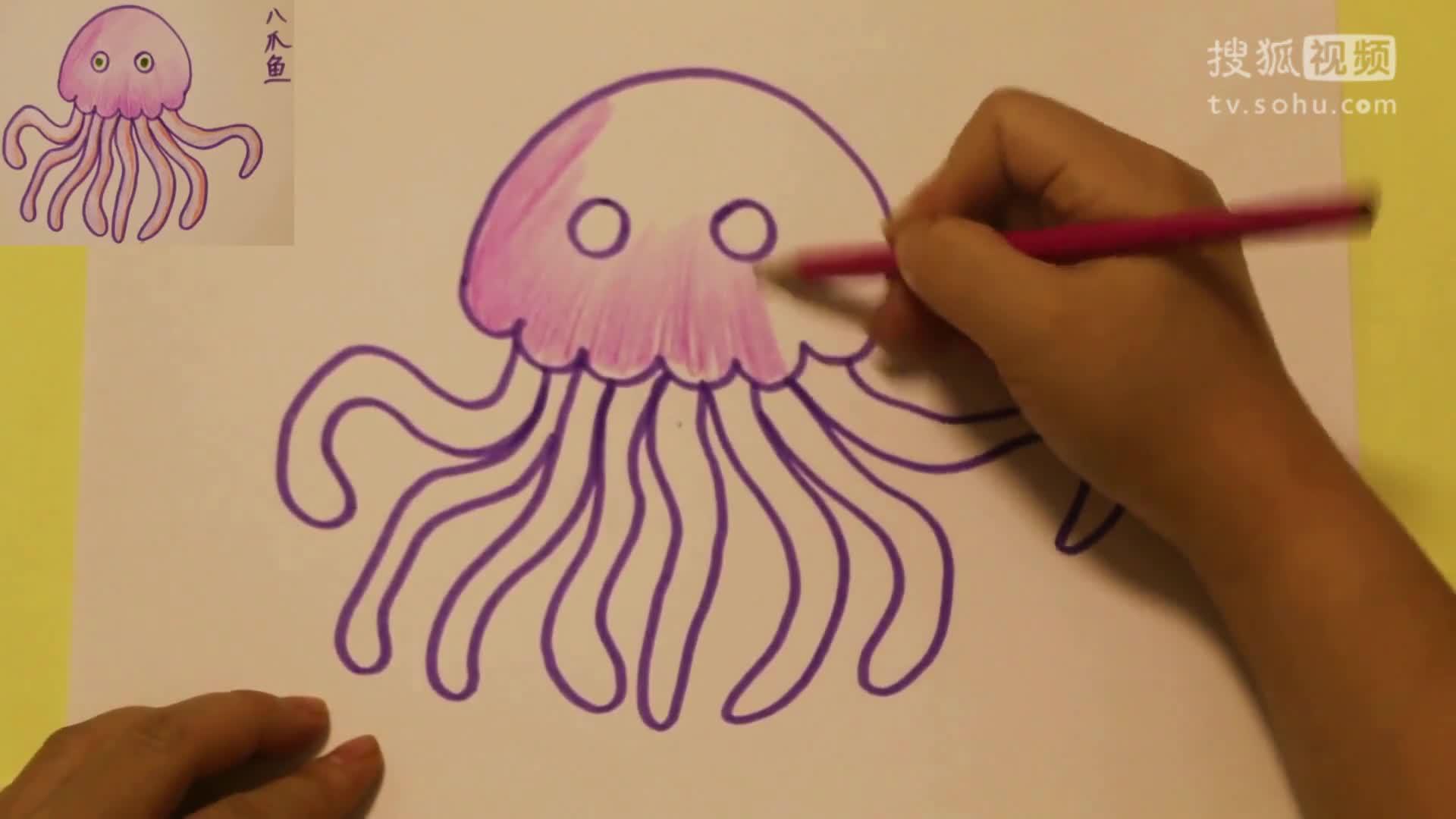 画八爪鱼简笔画 亲子教育学画画 幼儿学画画教程 儿童学画画教学 .