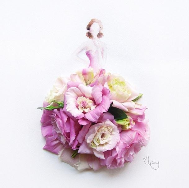 花朵裙子人物插画
