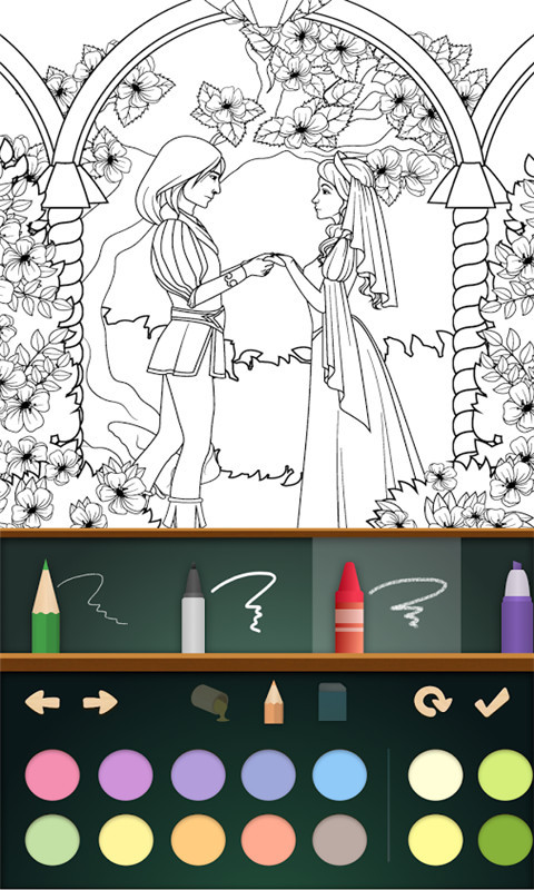 公主宝宝爱画画:迪士尼公主随意选择,可以让孩子们发挥自己的想象力以及着色能力,根据色板上的颜色,给公主涂色,让公主瞬间完美起来吧!