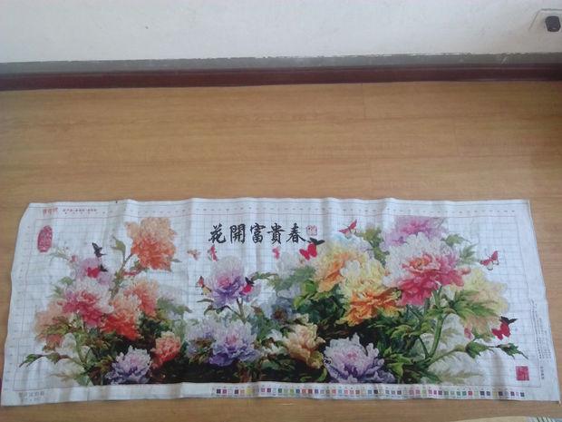 十字绣成品价格表5尺花开富贵春