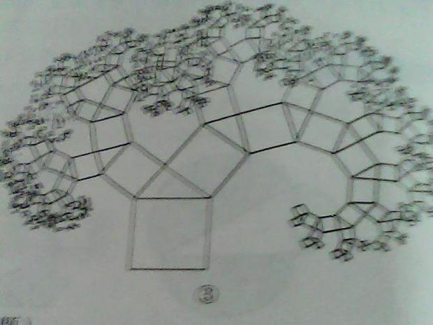 """1、试画出2次操作后的图形。2、如果原来直角三角形斜边长为1厘米,写出2次操作后的图形中所有正方形的面积和。3、如果一直画下去,你能想象出它的样子吗?4、图3是重复上述步骤若干次后得到的图形,人们把它称为""""毕达哥拉斯树"""".如果最初的直角三角形是等腰三角形,你能想象出此时""""毕达哥拉斯树""""的形状吗?"""