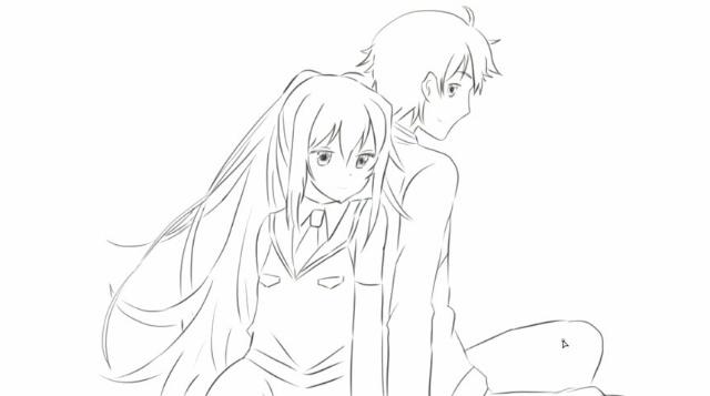 [小林简笔画]绘画动画片《可塑性记忆》中的水柿司与艾拉情侣卡通.