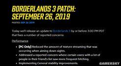 《无主之地3》推出补丁更新 修复PC开镜卡顿等问题