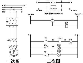 备注:电气原理图接触器线圈电压为ac220v,此电路中用到了dc24v开关