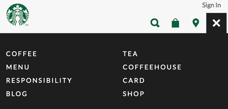 An image of the responsive navigation solution used for Starbucks.