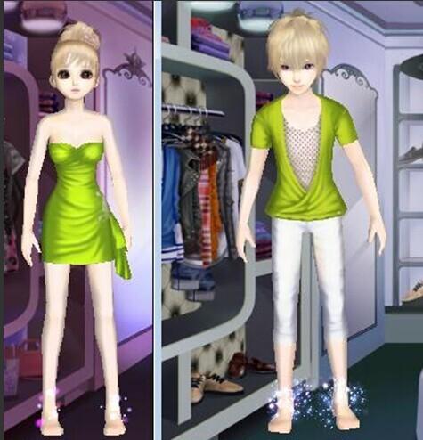 qq炫舞情侣装中与春意盎然(女)搭配的衣服叫什么