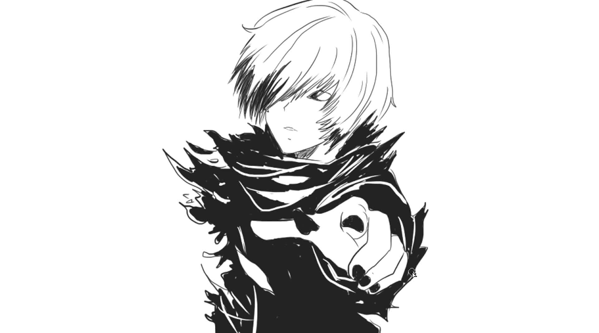 简笔画]绘画日本动画片《东京食尸鬼》中的主角金木