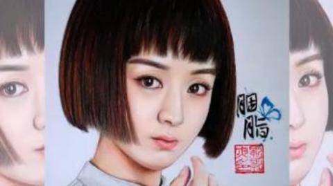 手绘彩铅画之女神赵丽颖