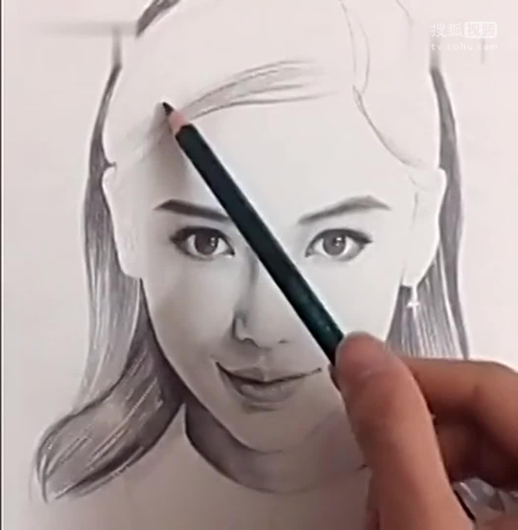 素描头像美术视频 手绘明星素描头像,angela baby杨颖-全球无敌.