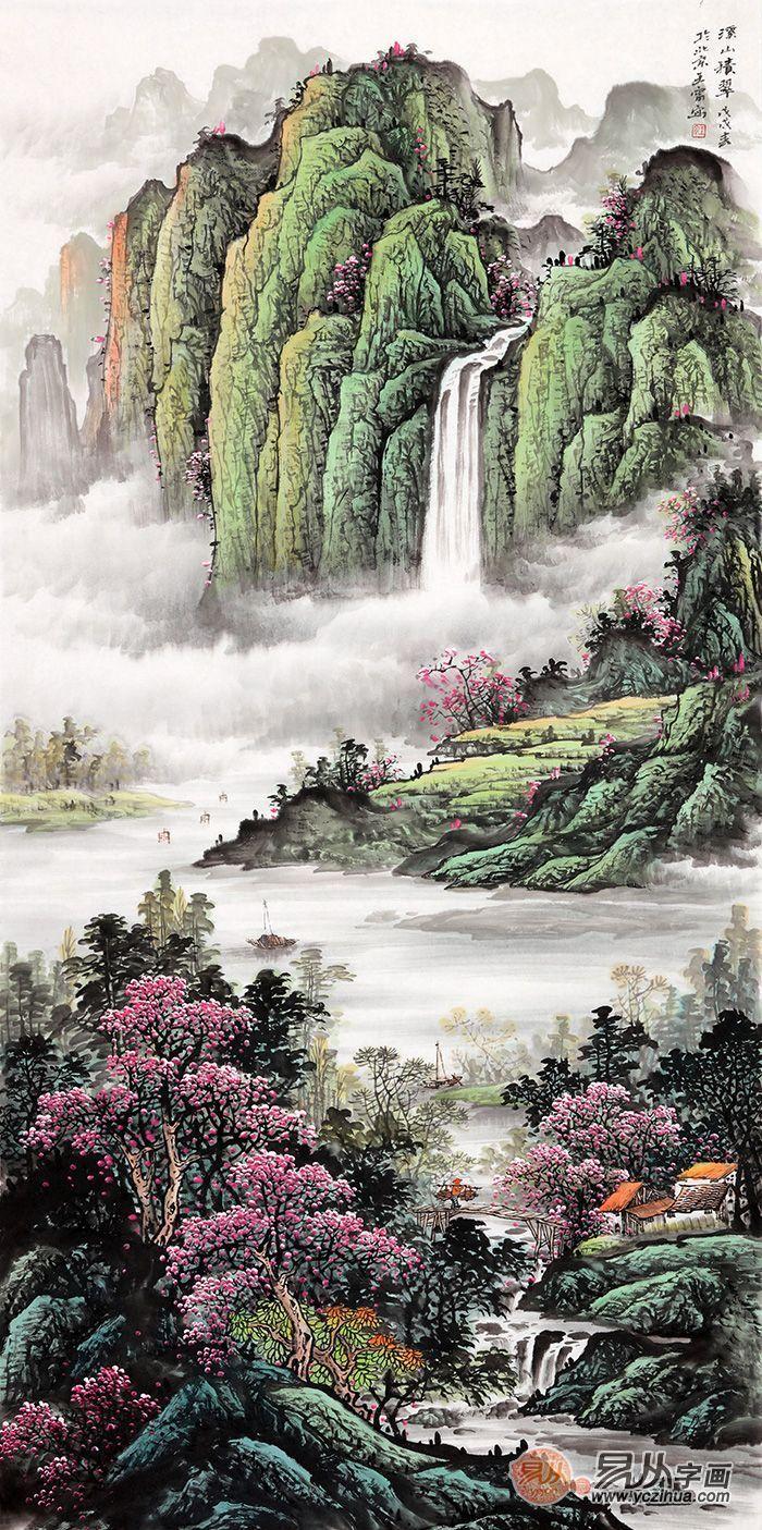 推荐二:室内装饰画 王宁四尺竖幅山水画《溪山积翠》图片