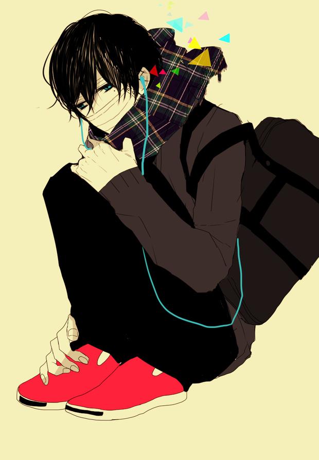 黑头发戴耳机的动漫人物