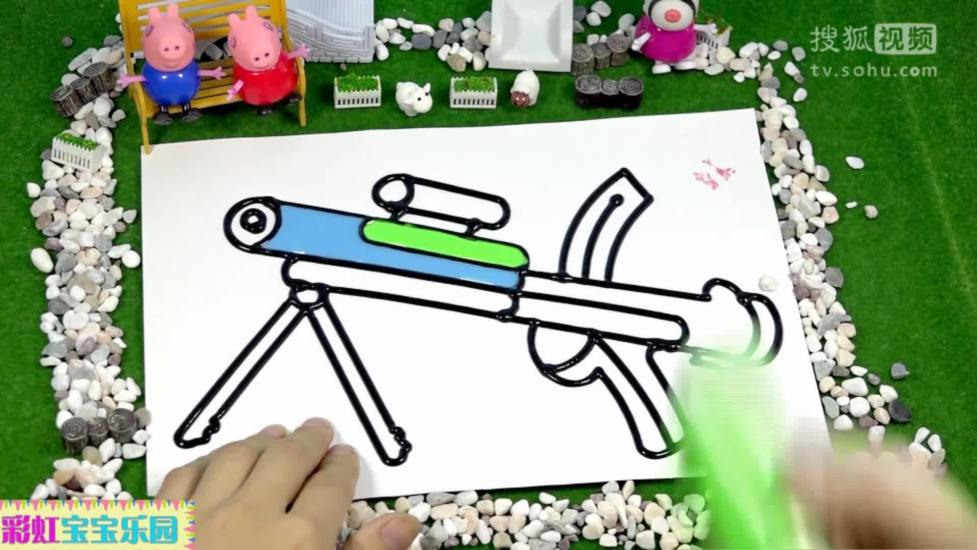 小猪佩奇玩具画画视频 佩佩乔治学画画 变形警车珀利 托马斯 芭比.
