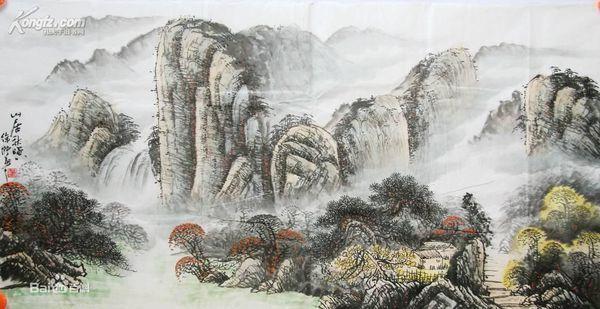 诗复古插画白描水墨风景山水