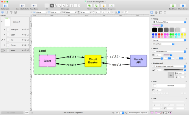 OmniGraffle with the graph of a circuit breaker.