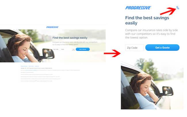 Progressive Insurance landing page