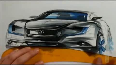 奥迪汽车马克笔手绘视频教程