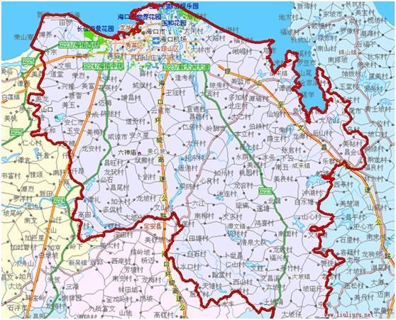 海口市地处海南岛北部,北濒琼州海峡,隔18海里与广东省海安镇相望;东