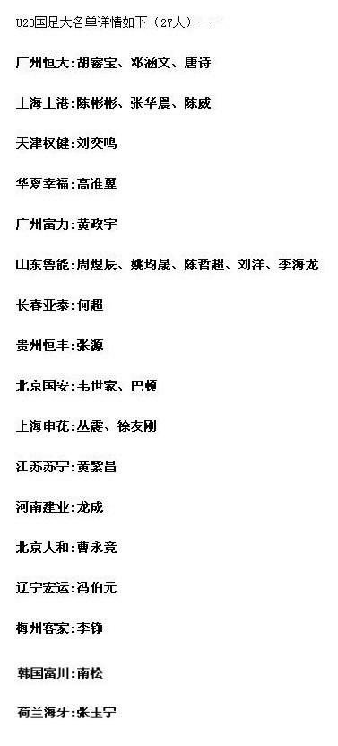 亚运会国足U23大名单公布,中超前四或将拉开