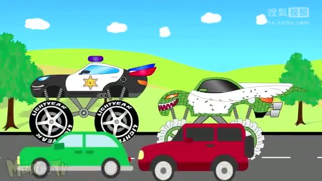儿童玩具卡通警车大卡车和蜘蛛侠的怪物汽车小游戏