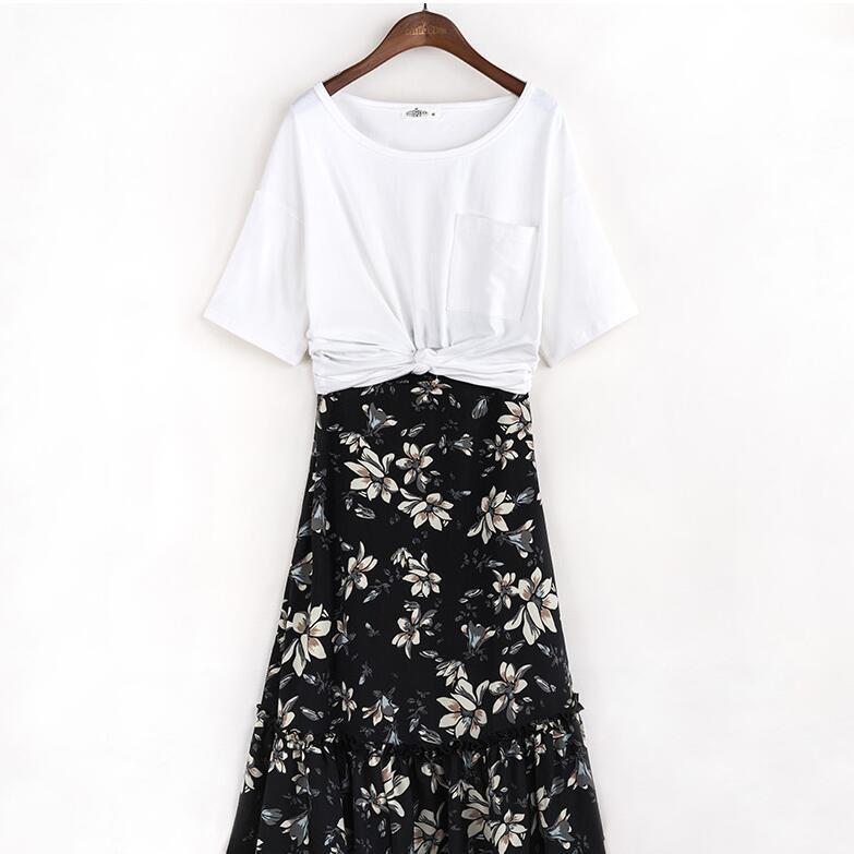 【碎花雪纺半身裙】诗曼朵2017夏季新款中长裙两件套