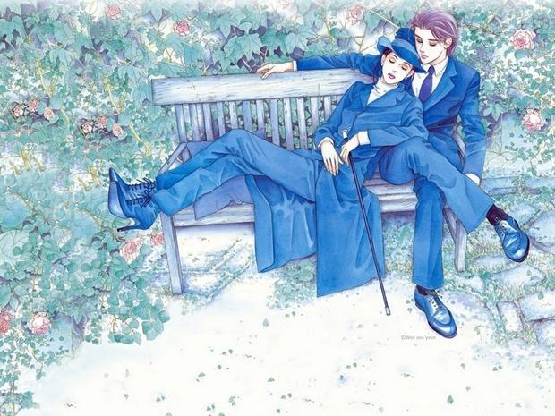 不是,这是浪漫情侣手绘插画