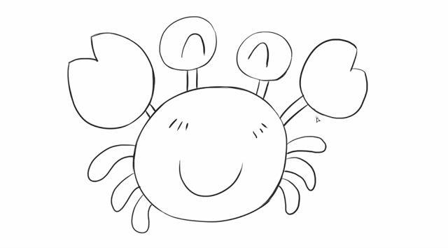 [小林简笔画]如何绘画儿童早教亲子简笔画可爱的小螃蟹卡通动漫.