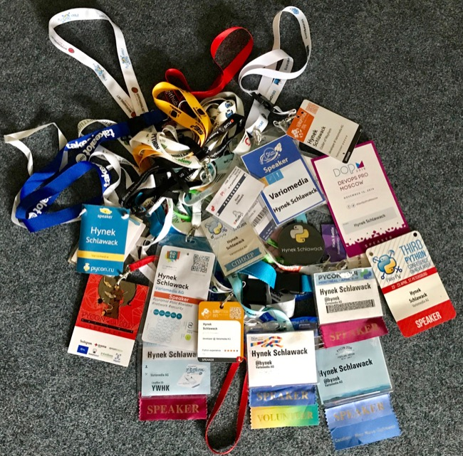 Some of my conference badges.