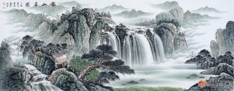 聚宝盆装饰画 蒋伟最新六尺山水画《富山居图》
