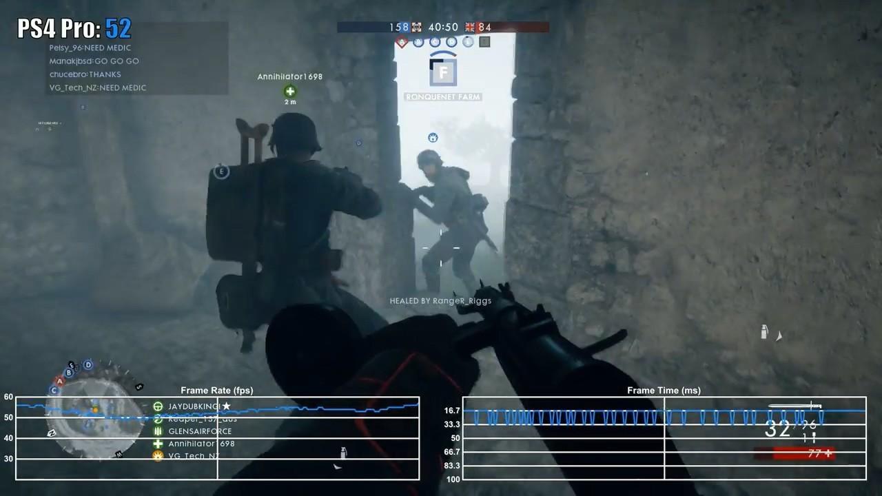 国外玩家公布《战地1》PS4 Pro联机帧数测试结果