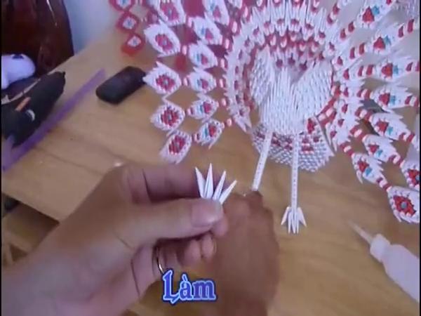 折纸大全图解 diy手工折纸立体3d孔雀开屏折法8
