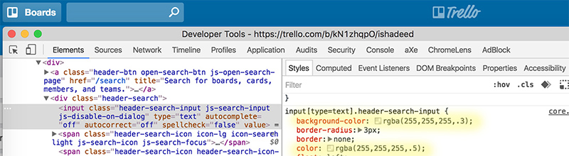 Trello with Devtools