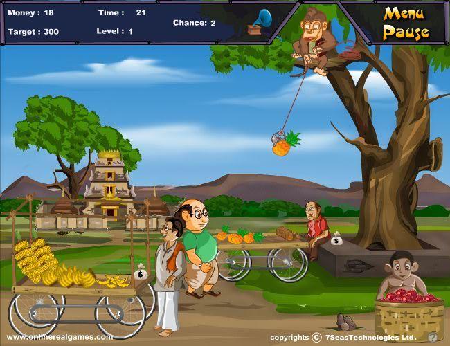 一款黄金矿工类的游戏,猴子在人类的培训下学会了偷窃,用钩子把地上行