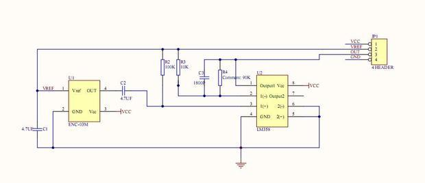 谁给我讲讲enc03模块电路图vout脚输出电压放大了
