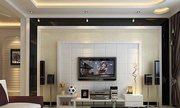 电视背景墙两边是茶色玻璃